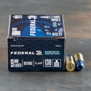20rds – 9mm Federal Syntech Defense 138gr. SHP Ammo