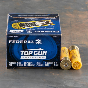 "25rds – 20 Gauge Federal Top Gun Sporting 2-3/4"" 7/8oz. #7.5 Shot Ammo"