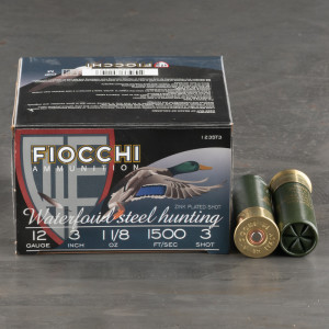 "25rds - 12 Gauge Fiocchi Waterfowl 3"" 1-1/8oz. #3 Steel Shot Ammo"