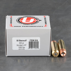 20rds – 50 Beowulf Underwood 300gr. Bonded JHP Ammo
