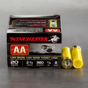 "25rds – 20 Gauge Winchester AA Low Recoil 2-3/4"" 7/8 oz. #8 Shot Ammo"