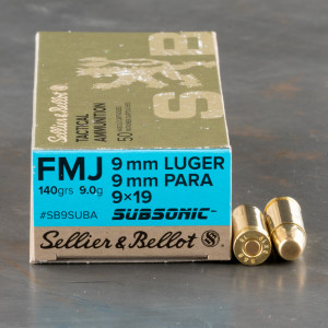 50rds – 9mm Sellier & Bellot Subsonic 140gr FMJ Ammo