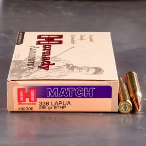 20rds - 338 Lapua Hornady Match 285gr. Boat Tail Hollow Point Ammo