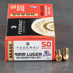 1000rds – 9mm Federal Champion 115gr. FMJ RN Ammo