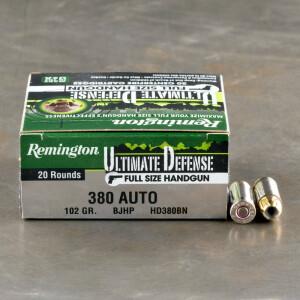 20rds - 380 Auto Remington Ultimate Defense 102gr. BJHP Ammo