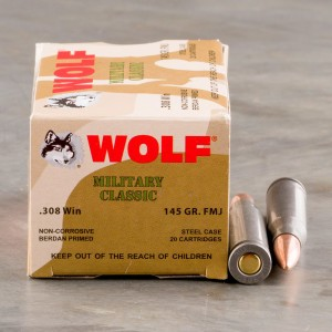 500rds - 308 WPA Military Classic 145gr. FMJ Ammo