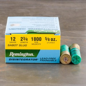 "25rds – 12 Gauge Remington Disintegrator 2-3/4"" 5/8oz. Lead Free Frangible Sabot Slug Ammo"
