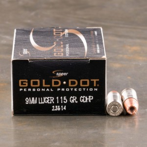 20rds - 9mm Speer Gold Dot 115gr. HP Ammo
