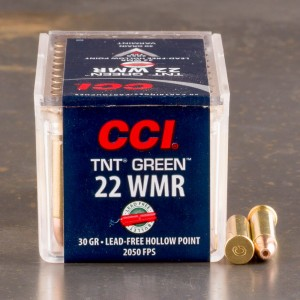 50rds – 22 WMR CCI TNT Green 30gr. HP Ammo