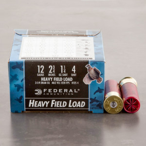 "25rds - 12 Gauge Federal Game-Shok Upland Heavy Field 2 3/4"" 1-1/4 oz. #4 Shot Ammo"