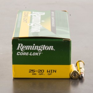 50rds - 25-20 Win. Remington 86gr. Soft Point Ammo