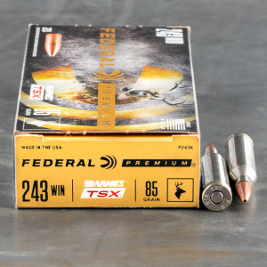 20rds – 243 Win Federal 85gr. Barnes TSX Ammo