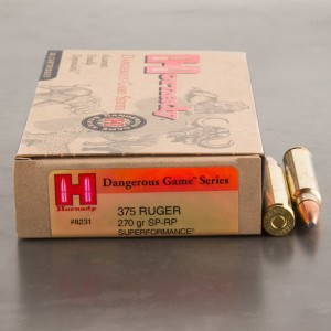 20rds – 375 Ruger Hornady Dangerous Game Series 270gr. SP-RP Ammo