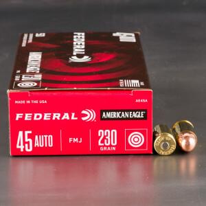 50rds - 45 ACP Federal American Eagle 230gr. FMJ Ammo
