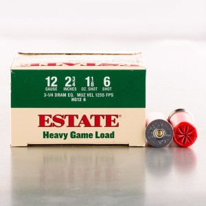 "25rds - 12 Gauge Estate 2 3/4"" 3 1/4 Dram 1 1/8oz. #6 Shot"