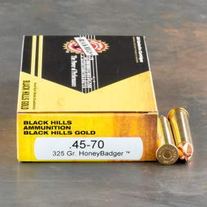 20rds – 45-70 Govt. Black Hills Gold 325gr. HoneyBadger Ammo