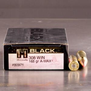 20rds - 308 Hornady BLACK 168gr. A-MAX Ammo