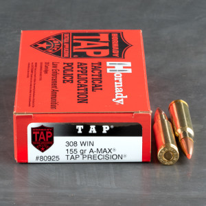 20rds - .308 Hornady LE A-MAX Match TAP 155gr. Ammo