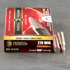 20rds – 270 Win Federal Vital-Shok 130gr. Nosler Partition Ammo