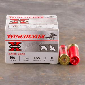 "25rds - 16 Gauge Winchester Super-X 2 3/4"" 1oz. #8 Shot Ammo"