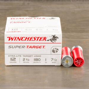 """250rds - 12 Gauge Winchester Super Target 2 3/4"""" 1oz. 2 3/4 Dram #7 1/2 Shot Ammo"""