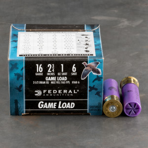 """25rds - 16 Gauge Federal Game-Shok 2 3/4"""" 1oz. #6 Shot Ammo"""