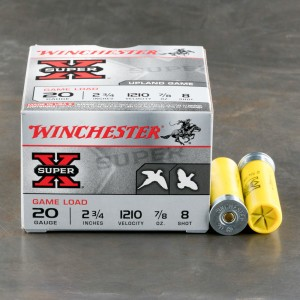"25rds - 20 Gauge Winchester Super-X Game Load 2 3/4"" 7/8oz. #8 Shot Ammo"