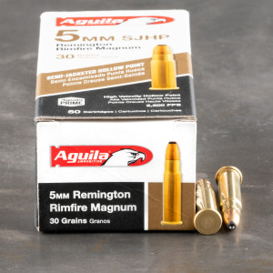 50rds – 5mm Rem Mag Aguila 30gr. SJHP Ammo