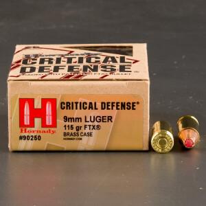 250rds - 9mm Hornady Critical Defense 115gr. HP Ammo