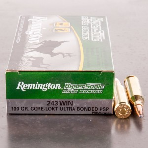 20rds - 243 Win Remington Hypersonic 100gr. Core-Lokt Ultra Bonded PSP Ammo