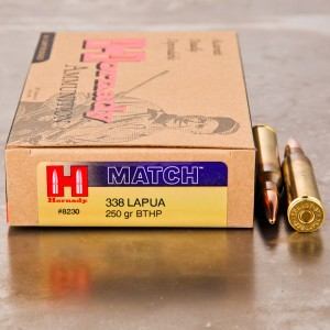 20rds - 338 Lapua Hornady 250gr. Boat Tail Hollow Point Ammo