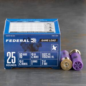 """250rds - 16 Gauge Federal Game-Shok 2 3/4"""" 1oz. #7 1/2 Shot Ammo"""