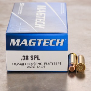 50rds - 38 Spec. Magtech 158gr. FMJ Flat Point Ammo