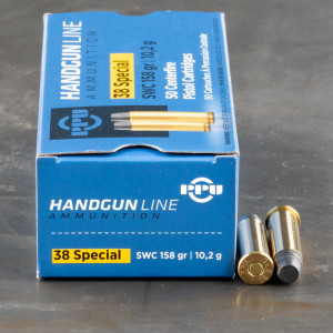 50rds – 38 Special Prvi Partizan 158gr. Semi-Wadcutter Ammo