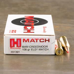 20rds - 6mm Creedmoor Hornady Match 108gr. ELD Match Ammo