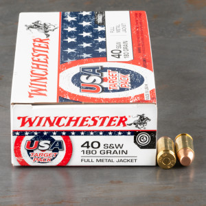 50rds – 40 S&W Winchester USA Target Pack 180gr. FMJ Ammo