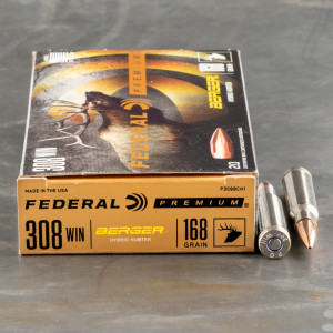 20rds – 308 Win Federal 168gr. Berger Hybrid Hunter Ammo