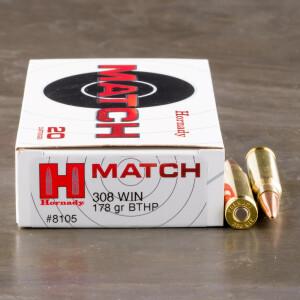 20rds - 308 Win. Hornady Match 178gr BTHP Ammo