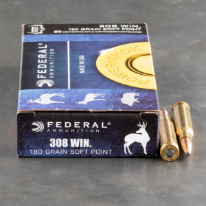 20rds – 308 Federal Power-Shok 180gr. Soft Point Ammo