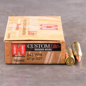 20rds - 243 Win. Hornady Custom Lite Reduced Recoil 87gr. SST Polymer Tip Ammo