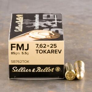 50rds - 7.62x25 Tokarev Sellier & Bellot 85gr. FMJ Ammo
