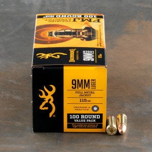 100rds – 9mm Browning 115gr. FMJ Ammo