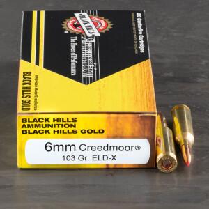 20rds – 6mm Creedmoor Black Hills Gold 103gr. ELD-X Ammo