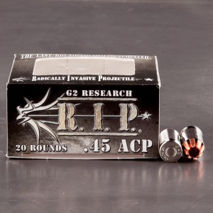 20rds - 45 ACP G2 Research RIP 162gr. HP LF Ammo
