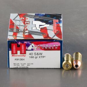 20rds – 40 S&W Hornady American Gunner 180gr. XTP JHP Ammo