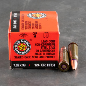 1000rds – 7.62x39 Red Army Standard 124gr. HPBT Ammo