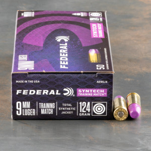 50rds – 9mm Federal Syntech Training Match 124gr. Total Synthetic Jacket FN Ammo