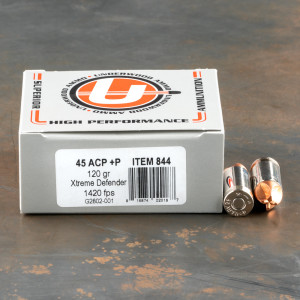 20rds – 45 ACP +P Underwood 120gr. Xtreme Defender Ammo