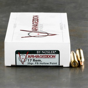 20rds - 17 Remington Nosler Varmageddon 20gr. Flat Base Hollow Point Ammo