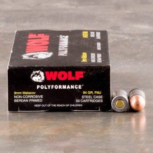 9mm Makarov - 94 Grain FMJ - Wolf WPA Polyformance - 1000 Rounds